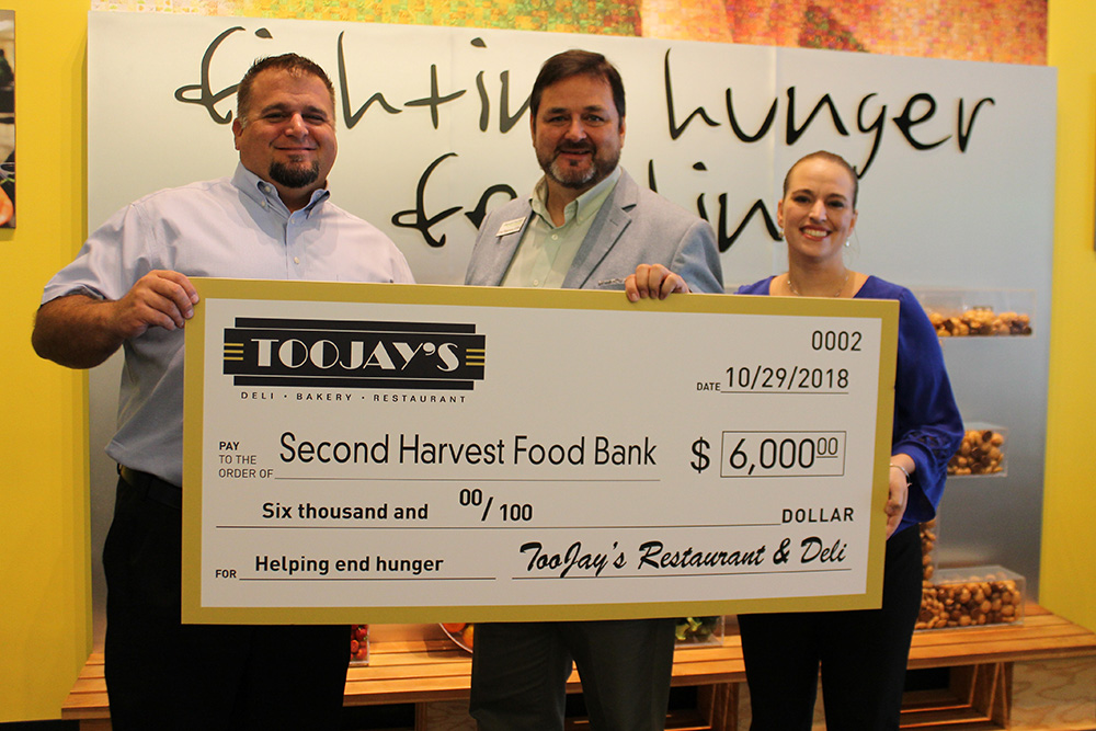 TooJay's Donates $6K to Second Harvest Food Bank