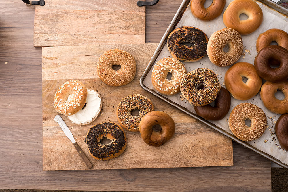 Table with assortment of bagels